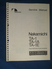 NAKAMICHI TA-1 TA-1A TA-1E TUNER SERVICE MANUAL ORIGINAL FACTORY ISSUE
