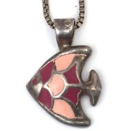 ENAMEL FISH NECKLACE PENDANT & BOX CHAIN STERLING SILVER JEWELRY