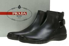 NEW PRADA MEN'S BLACK LEATHER LOGO  ANKLE BOOTS SHOES 10/US 11
