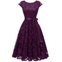 Women's Short Bridesmaid Dress Cap Sleeve V-Back Vintage Floral Lace Party Prom