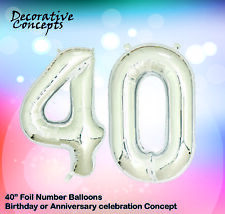 "Giant 40th Birthday Party 40"" Foil Balloon Helium Air Decoration Age 40 SILVER"