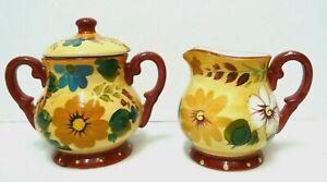 Oneida Kitchen Sunset Bouquet Creamer Sugar Bowl Hand Painted Floral Yellow Rust
