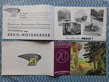 ARDIE PROSPEKT 1937 RBU350 RBU500 RBU600 RBK500 MOTORRAD OLDTIMER  NÜRNBERG