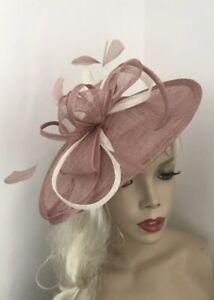 NEW Nude Blush Dusky Pink Fascinator Saucer Wedding Hat Formal Ladies Hatinator