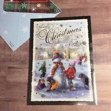 1pc. CHRISTMAS CARD~Merry Christmas~Snowman & Kids🎄
