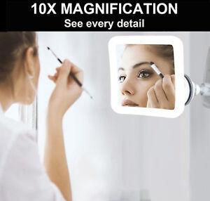 10XMagnifying LED Make Up Shaving Illuminated Makeup Mirror with Locking Suction