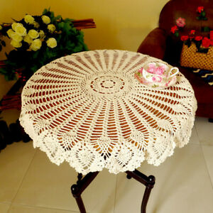 """35"""" Vintage Tablecloth Hand Crochet Cotton Doily Round Lace Table Cloth Topper"""
