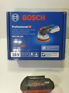 Bosch 18v Brushless Orbital Sander 125mm + 4Ah Pro Core Battery - New