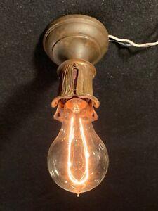 Antique Petite Cast Brass Art Nouveau Flush Mount Ceiling Light Fixture Rewired