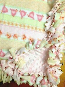 Handmade FLEECE TIE-BLANKET Soft Minky Girl Baby Bird Butterfly Stripe 58x38