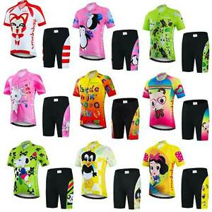 Kids Cycle Clothing Children Reflective Cycling Jersey and Padded Shorts Kit