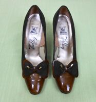 Vintage 60's/70's Valley Brown Suede & Patent Leather Pumps Heels Shoes Size 6