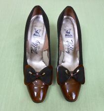 159c0ae688b Vintage 60 s 70 s Valley Brown Suede   Patent Leather Pumps Heels Shoes Size  6