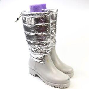 Sam Edelman Women's Adda Mid Calf Puffer Waterproof Boots Grey Silver Size 9
