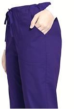 *Womens Plus 2Xl Scrubstar 3-Pocket Drawstring Scrubs Bottom Pants, Dark Purple