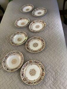 Sevres Louis Philippe Fontainbleau, 4 Dinner Plates & 4 Soup Bowls, French