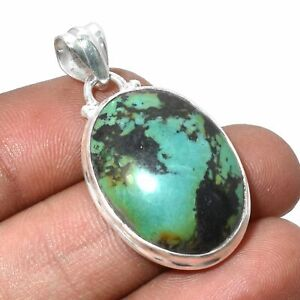 """Turquoise Solid 925 Sterling Silver Handmade Pendant Jewelry 1.44"""" SP-2753"""