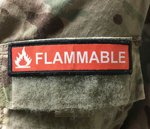 1x4 Flammable Morale Patch Tactical Military Army USA Flag Hook Badge