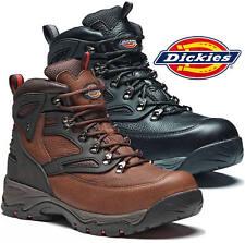 Dickies Preston Safety Work Boots Leather Steel Toe Cap Hiker Boot Black / Brown
