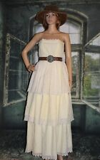 Vintage 1950s Prom Dress Strapless White Cotton Eyelet Tiered Ruffles Extra Smal