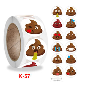 Emoji Poop Stickers...50 PACK..Party Bag Favours..Loot Bag ..Treat Boxes 57