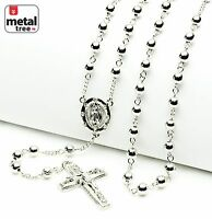 "Luxury Fashion Silver Bead Guadalupe & Jesus Cross 28"" Rosary Necklace HR 600 S"