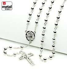 """Luxury Fashion Silver Bead Guadalupe & Jesus Cross 28"""" Rosary Necklace HR 600 S"""
