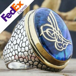 Turkish Handmade 925 Sterling Silver Natural Abalone Tugra Men's Ring All Sizes