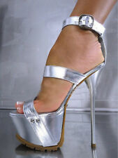 Super Silver Us10 High Heels Roma Womens Stiletto Platform Ankle Strap Shoes