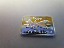 1 GRAM. SILVER BAR .999 FINE SILVER SU -27  FIGHTER