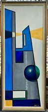 Vintage 60s Geometric Hard Edge Painting Mid Century Modern Wall Hanging Signed