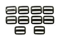 25 x 25mm Black Plastic 3 Bar Slides For Webbing,Bags,Straps,Crafts,Fastenings