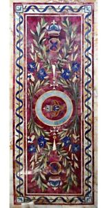 """72""""x30"""" Amazing Italian Marble Dining Table Top Lapis Floral Inlay Decorate B641"""