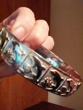 Gold Wash Bangle Sz 8 1/2 Vintage Sterling Silver Artisan Dolphin Bracelet w