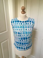Uk8 Eu34 Mexx Turquoise Blue & White Shell Top