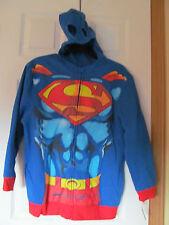 NWT Boy's DC Comics SUPER MAN MASK Zip up HOODIE size Large 10/12 Fleece