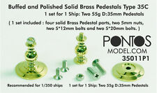 Pontos Models Buffed & Polished Solid Brass Pedestals 35C for 1/350 - 1/700 Ship