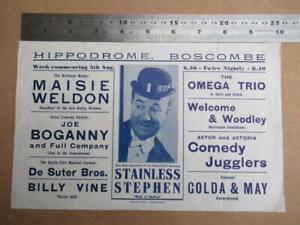 Hippodrome Boscombe (folded)  single sheet handbill     more image down listing