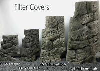 GREY FILTER COVER MATCHES BACKGROUND FISH TANK DECORATION 3D ROCK STONE