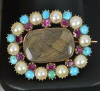 Rare Georgian 15ct Rose Gold Pearl Turquoise Brooch c1820