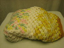 Hand Made Custom Knitted Blanket 47 X 53 Pink Yellow Green White Color Design