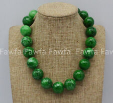 New Huge 20mm Natural Green Emerald Jadeite Round Beads Gemstone Necklace 18'' A