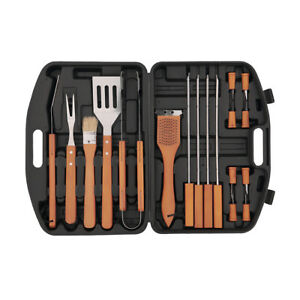 BBQ Set 19 Piece Stainless Steel Barbecue Grill Outdoor Cooking Utensils Tools H