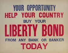 Original WWI posters - Liberty Bond and Give War Bonds  - 2 linen backed