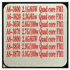 AMD A6-3600 A6-3620 A6-3650 A6-3670 A8-3800 A8-3850 A8-3870 CPU Processor