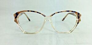 Women's French Vintage 1980s Clear Butterfly Dressy Club LA 3000 Eyeglasses 55mm