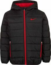 New Boys NIKE Swoosh Winter Hooded Jacket Puffer Coat Black/Red - Size 7