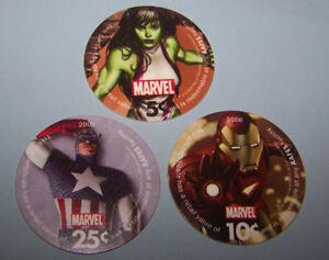 Iron Man She Hulk & Captain America  AAFES Pog   Fine - Very  Fine Condtion
