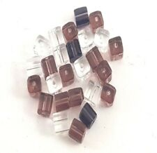 100 pieces 4mm  Crystal Glass Square / Cube Beads - AMETHYST MIX - A3041