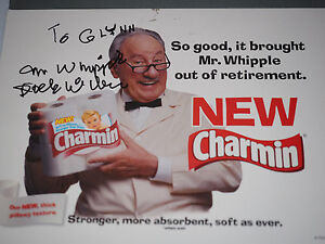 """Vintage Dick Wilson Autographed """"Mr. Whipple"""" Advertising Boarded"""